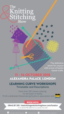 11 14 OCTOBER 2018 - ALEXANDRA PALACE, LONDON LEARNING CURVE WORKSHOPS