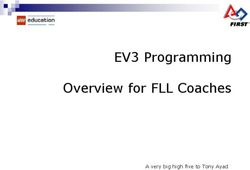 EV3 Programming Overview for FLL Coaches