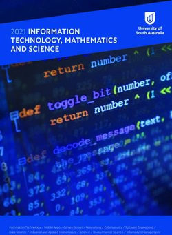 2021 INFORMATION TECHNOLOGY, MATHEMATICS AND SCIENCE - University of South Australia